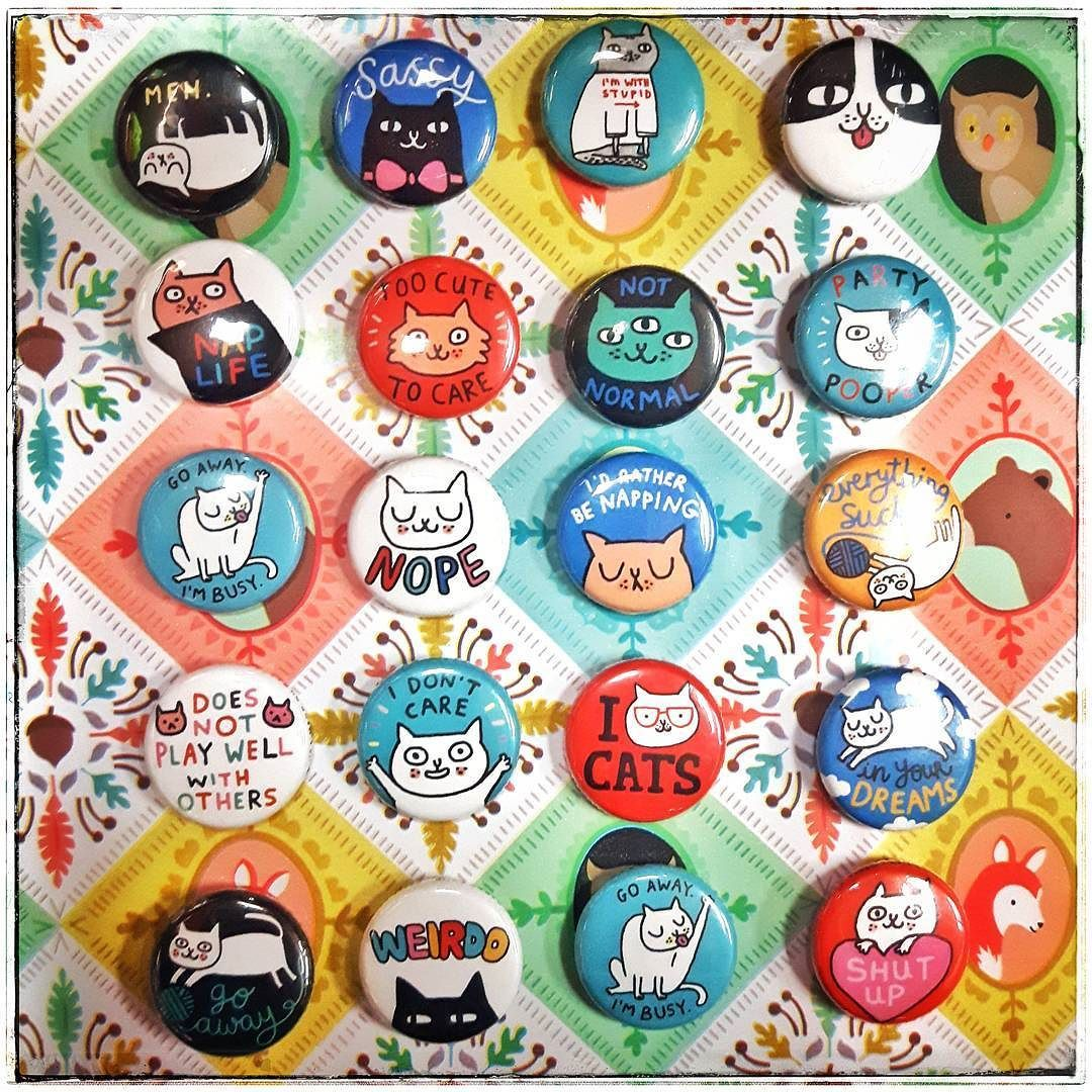 CUTE cat buttons by @gemmacorrell  (Excuse the mad glare lol) #gemmacorrell #cutecats #catbuttons #buttons #buttonlife #ilovebuttons #buttoncollection #catbutton #sassycat #meh #naplife #imwithstupid #toocutetocare #goawayimbusy #idratherbenapping #notnormal #weirdo #gifts #toronto #thesix #queenandportland