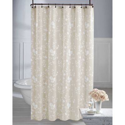 Wamsutta Vintage Embroidered Floral Shower Curtain In Grey