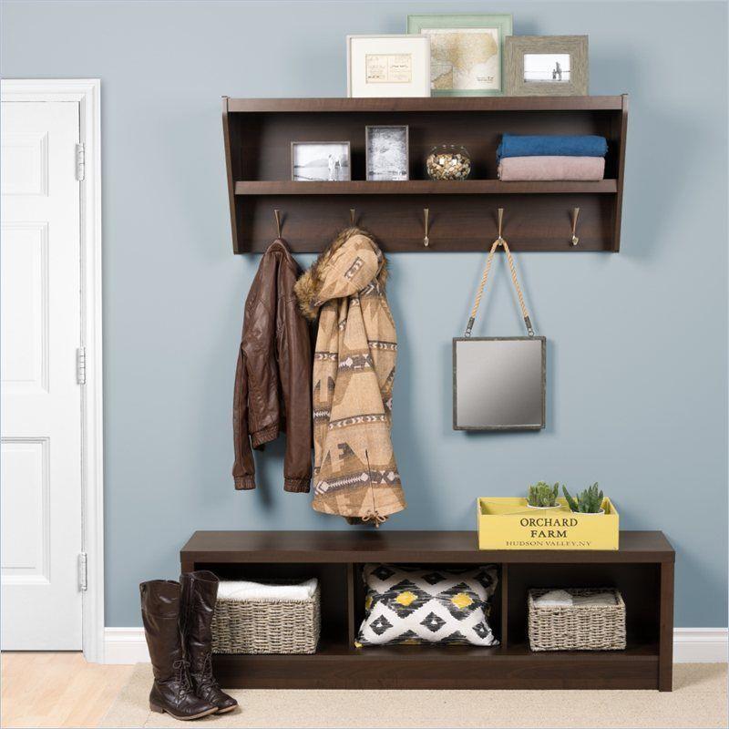 Prepac Floating Entryway Shelf W Bench Espresso Hall Tree Storage Benchesstorage Ideascubby Benchmudroomcoat