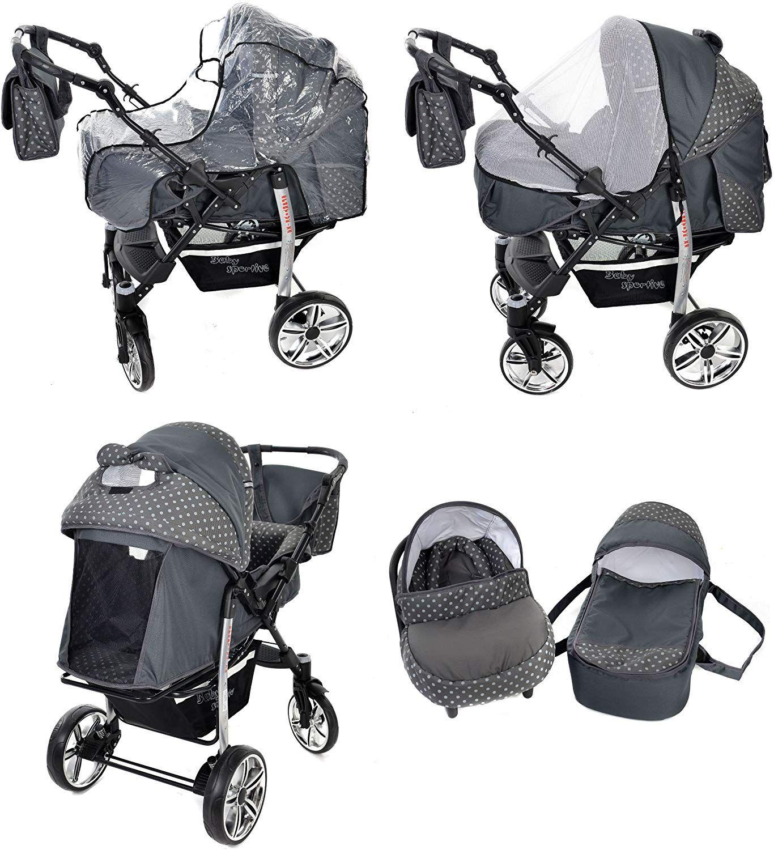 Landau pour b/éb/é Si/ège Auto Accessoires/ Sportive X2 Poussette Syst/ème 3en1, gris, taches Syst/ème 3en1