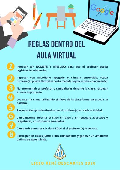 Reglas Dentro Del Aula Virtual En 2021 Reglas De Clase Profesor De Informática Educacion Virtual