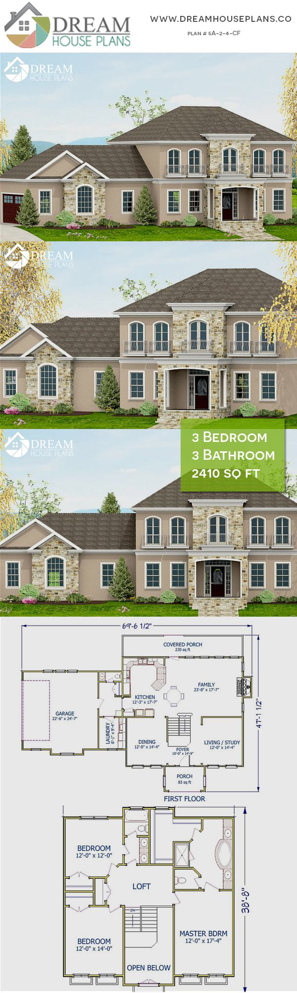 Dream House Plans Popular Colonial 3 Bedroom 2410 Sq Ft