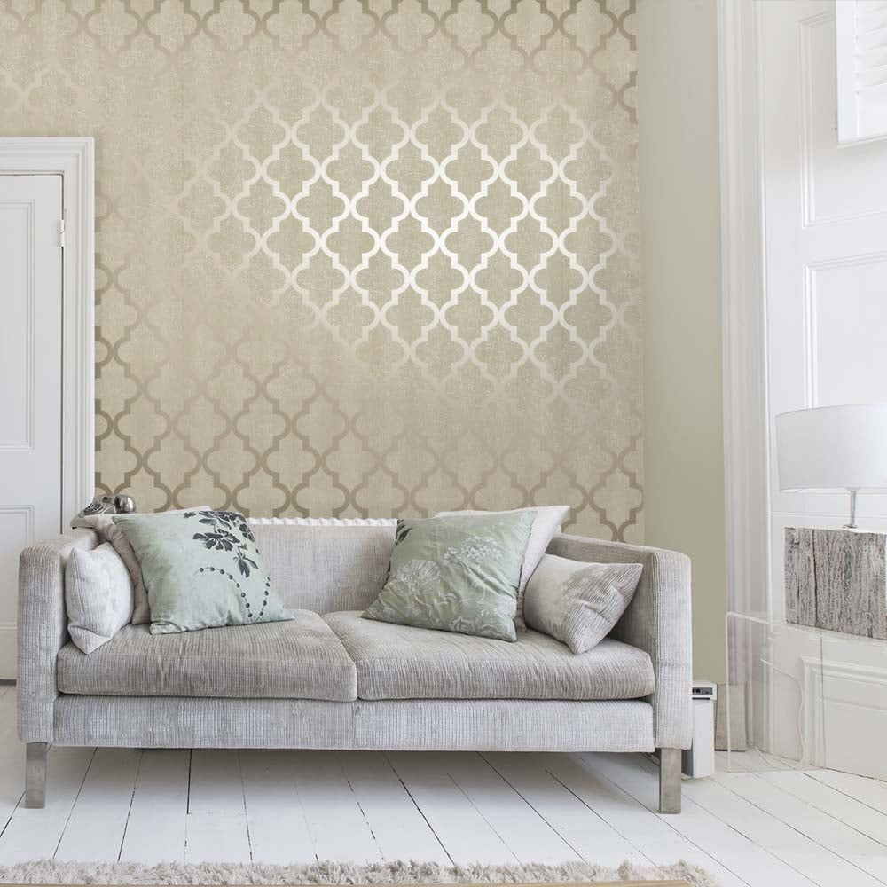Henderson Interiors Camden Trellis Wallpaper Cream / Gold (H980531 ...