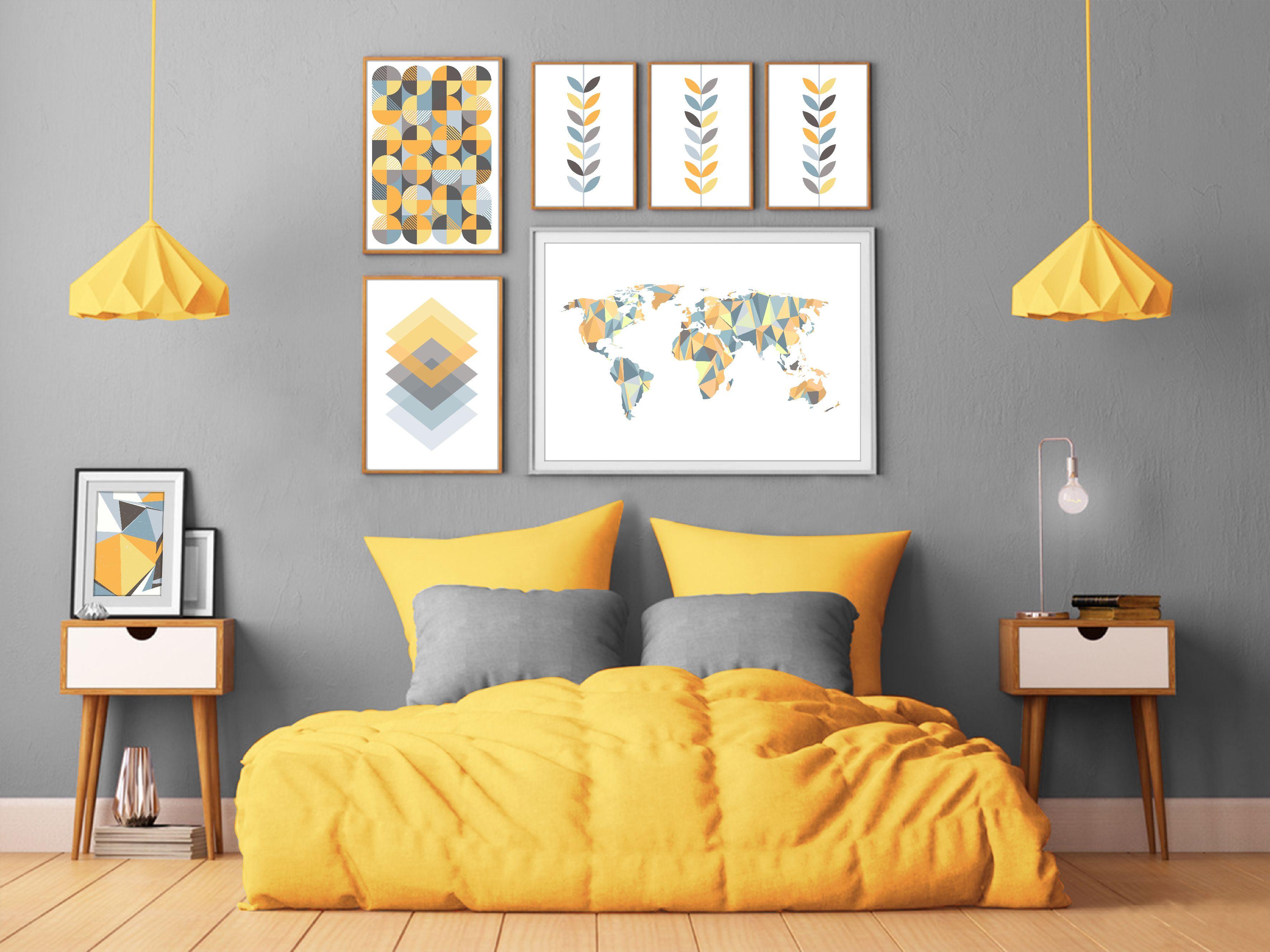 Yellow Bedroom Scandinavian Wall Decor In 2020 Yellow Bedroom Decor Blue Living Room Decor Yellow Bedroom