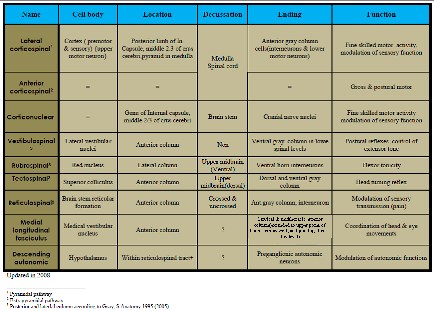 spinal tracts table | The descending tracts of the spinal cord ...
