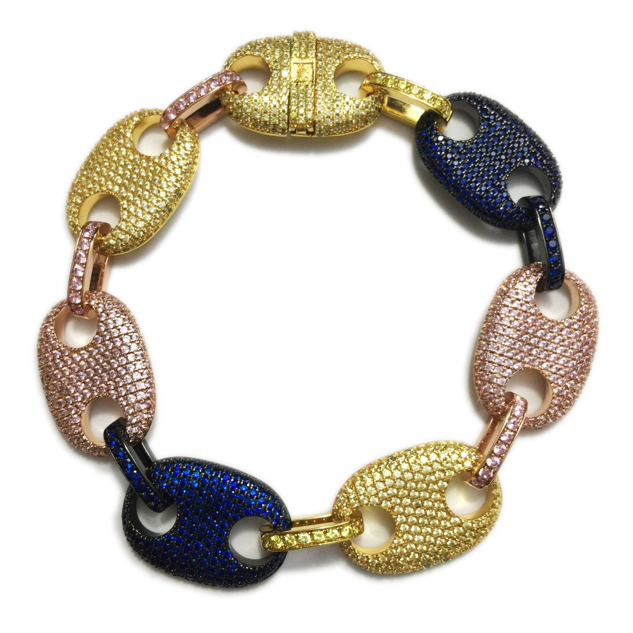 f511e02a44ba3 Iced out gucci link mariner link bracelet 18mm Multi-colored in 2019 ...