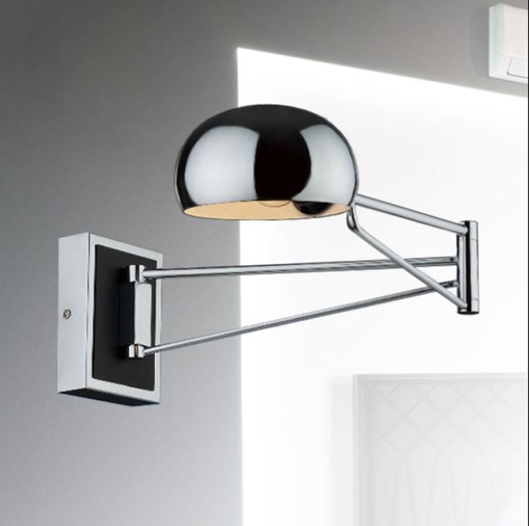 modern metal wall lamp chrome swing arm wall lamp with stretched indoor lighting wall sconce reading