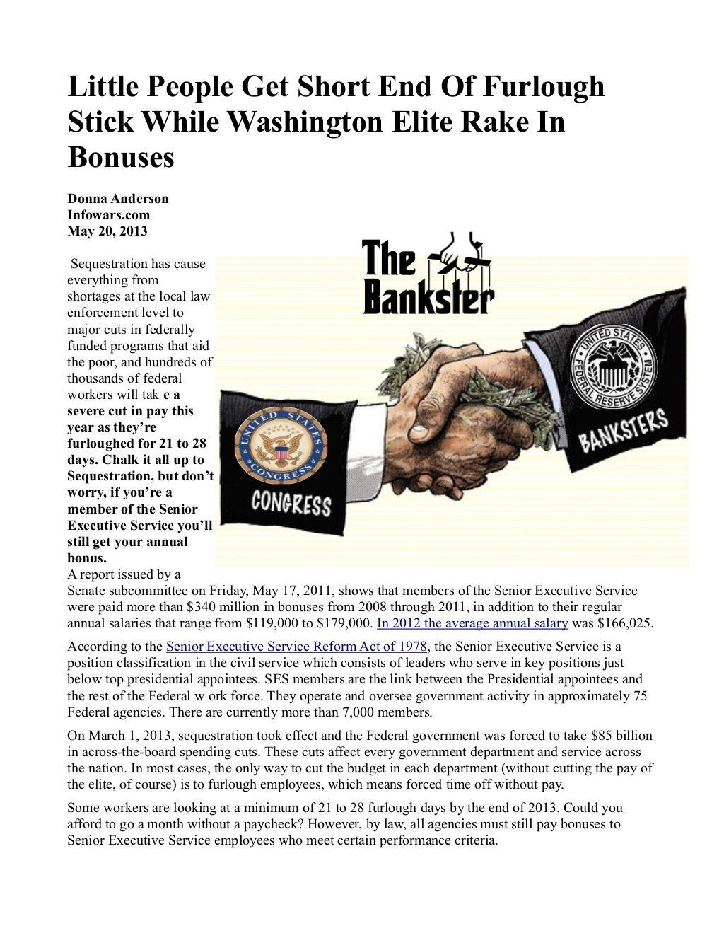 Little People Get Short End Of Furlough Stick While Washington Elite Rake In Bonuses