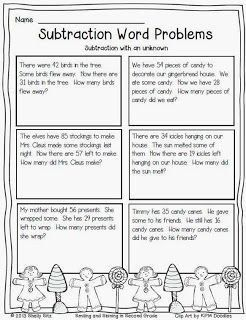 Christmas Math Problem Solving Subtraction Word Problems Math Problem Solving 2nd Grade Math