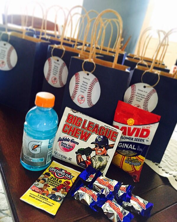 Little league opening day goodie bags discount baseball for Old school party decorations