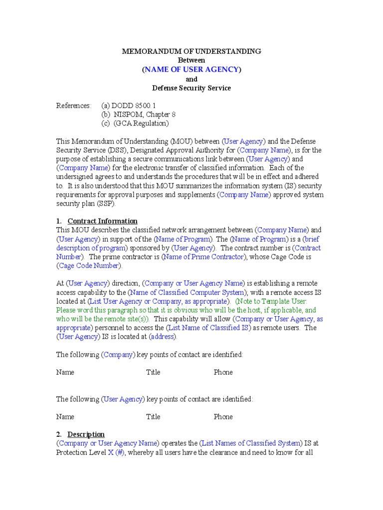 Memorandum Format Exle Memorandum Of Understanding Memorandum