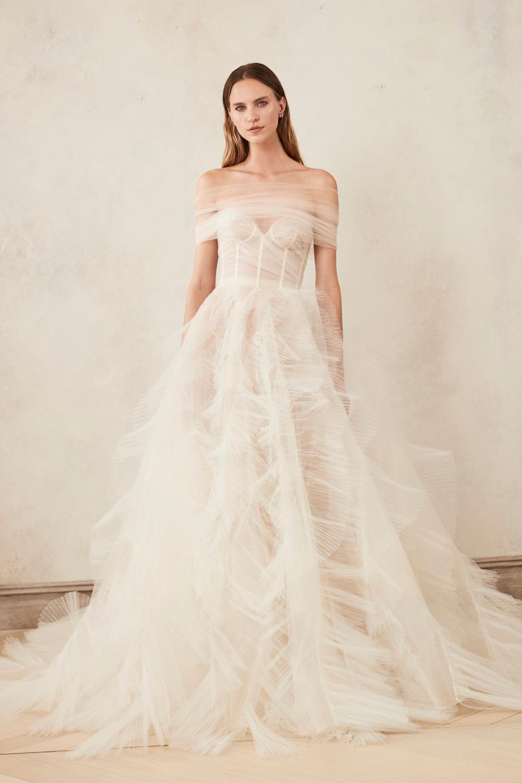Oscar de la Renta Bridal Strapless Bustier Ball Gown With