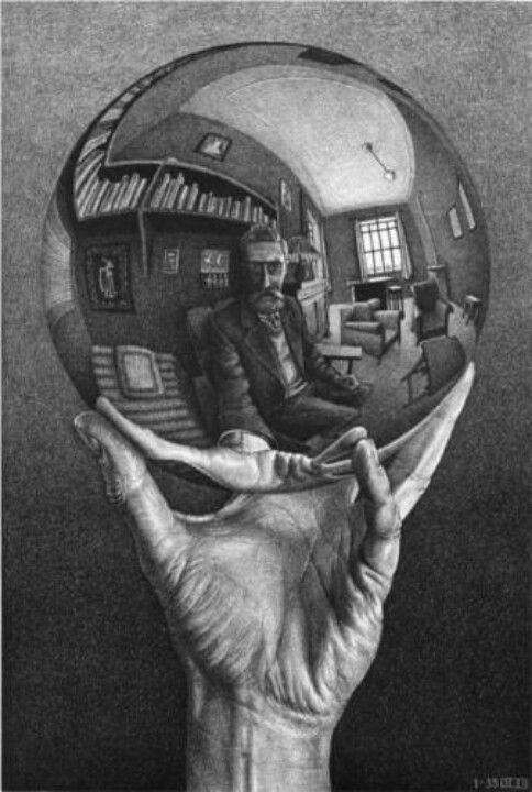 MC Escher this dude holding up a ball lookin at it like thats