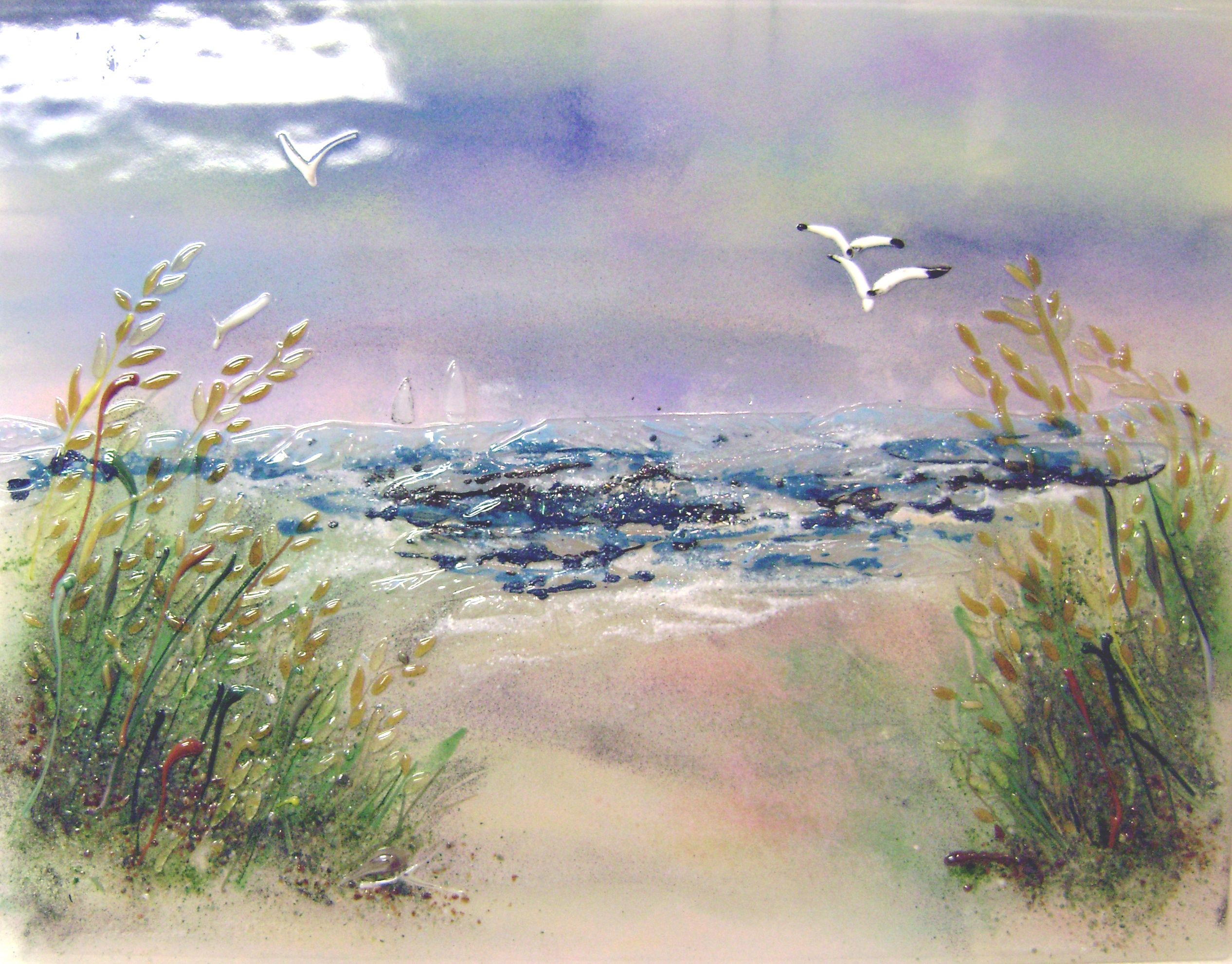 While appearing to be a painting this creative glass mural for Beach mural painting