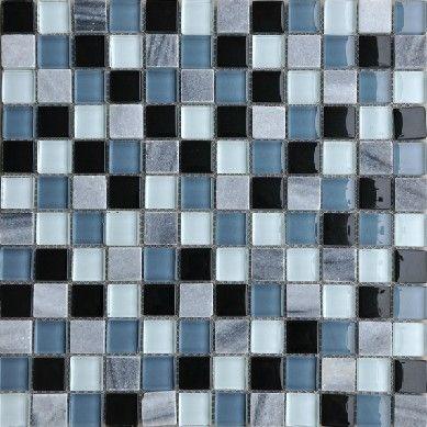 Design Decor Glass Mosaic Blue Kitchen Backsplash Tiles SGMT003 Grey Stone  Black Glass Mosaic Bathroom Wall