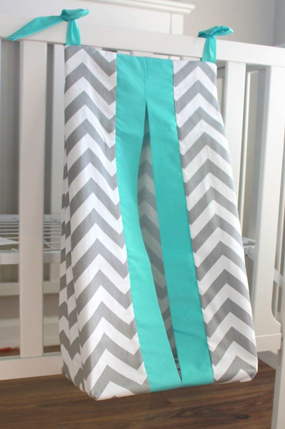 Gray Chevron with accent Aqua Diaper Stacker. Other colors available ...