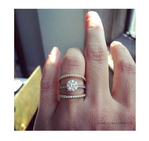 Jessica McCormack Double Band Party Jacket As A Wedding Band With A Round  Brilliant Solitaire