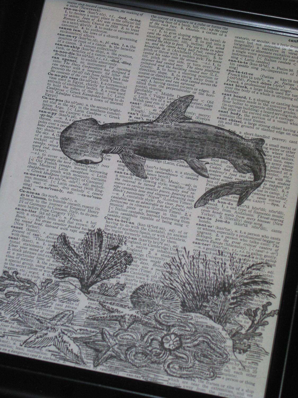 Upcycled Wall Art Bogo Sale Shark Print Shark Week Sea Life Art Print Ocean Art