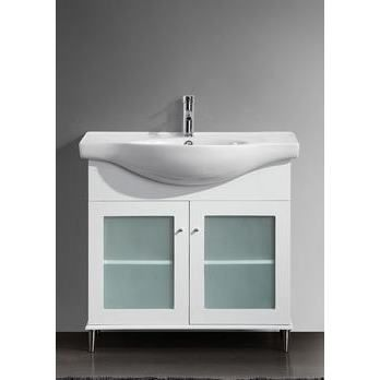 Transitional 36 inch White Bathroom Vanity with White Integrated