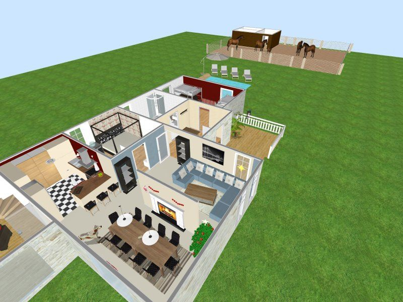 3D floor plan of multiple room house with interior & exterior elements.  Contemporary traditional decor, with fireplace, food items, plants, pool, grass, and horses.  Designed by Franziska Su Shi in RoomSketcher Floor Planner:  http://planner.roomsketcher.com/?ctxt=rs_com  #RoomSketcher #floorplan #floorplanner #interiors #exteriors #contemporary #traditional #decor #Christmas #decorations #fireplace #pools #horses #food