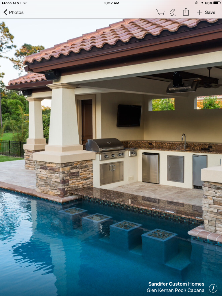 This is perfect pool/outdoor kitchen area for me ... on Outdoor Kitchen With Pool Ideas id=76762