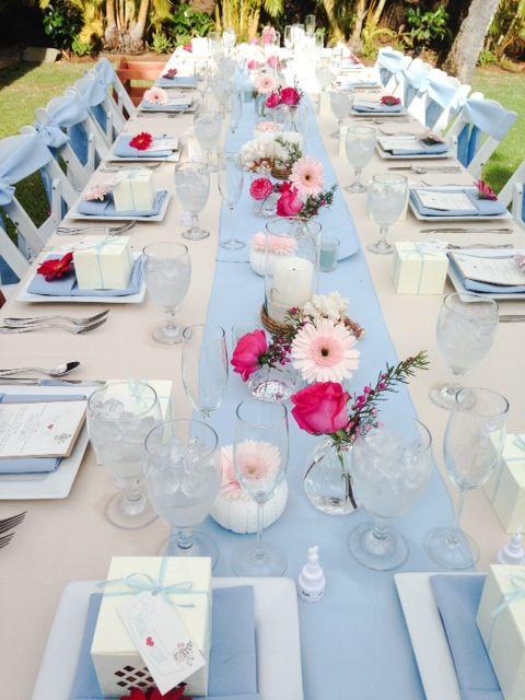 Beige Tablecloth, Light Blue Runner U0026 Napkin, Hot Pink Flowers