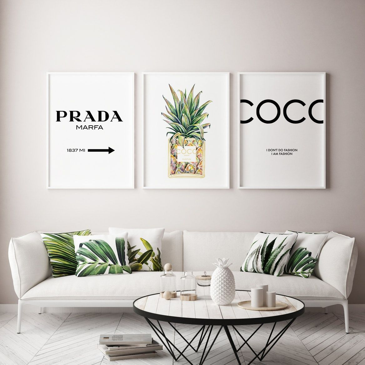 Chanel Inspired Pineapple Wall Art Print  Free Shipping  Fy