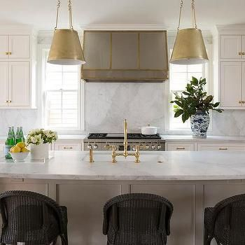 Antique Brass Drum Pendant Lights Over White Island