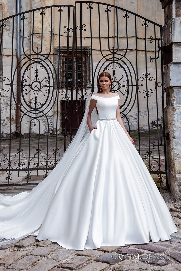 Crystal Design Bridal 2016 Off The Shoulder Jeweled Belt Chic Modern Simple A Line Ball Gown