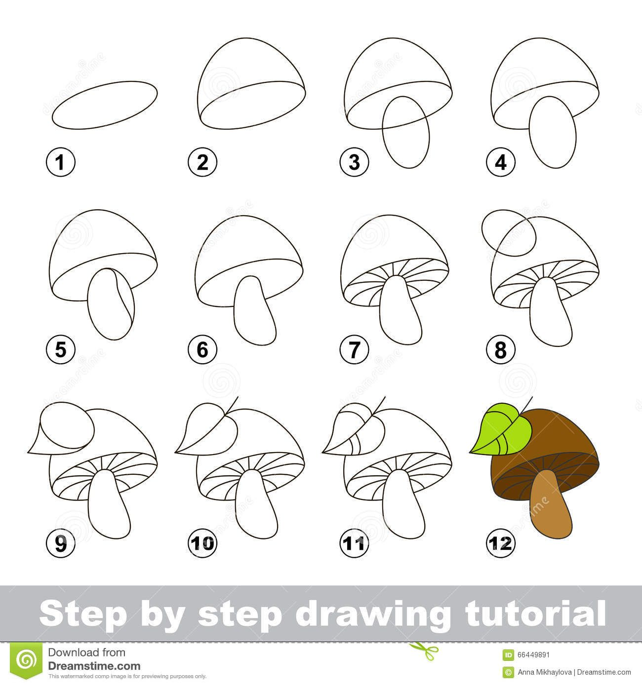 How To Draw A Mushroom Easy Step By Step For Kids Beginners ...