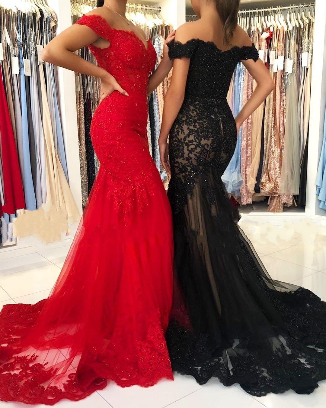 Elegante Rote Abendkleider Lang  Abendmoden Schwarz Spitze
