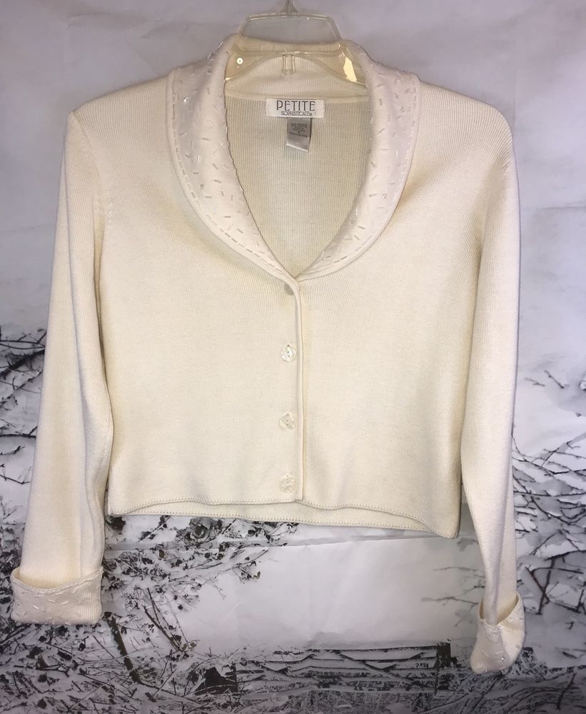 Petite Sophisticate White Beaded Sweater Cardigan Size Small ...