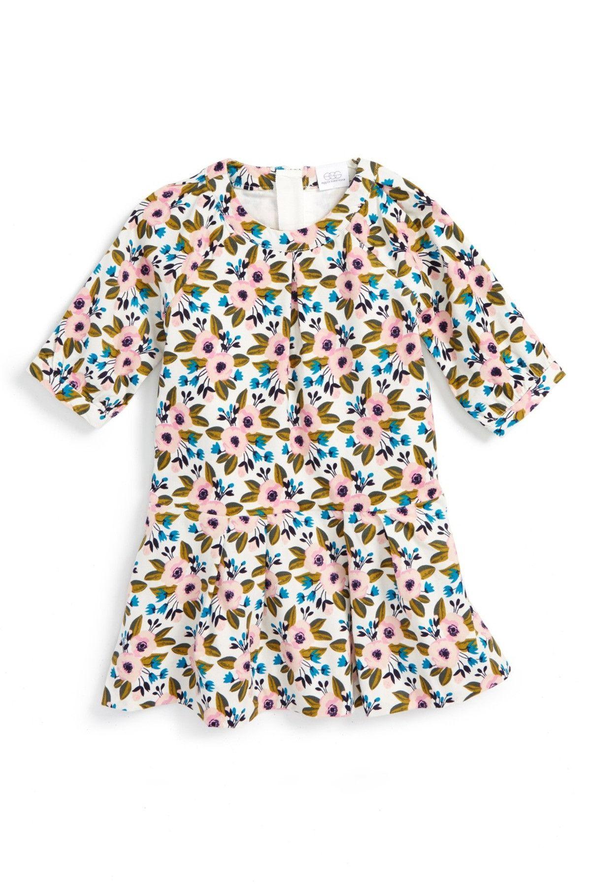 Floral Print Corduroy Dress Baby Girls