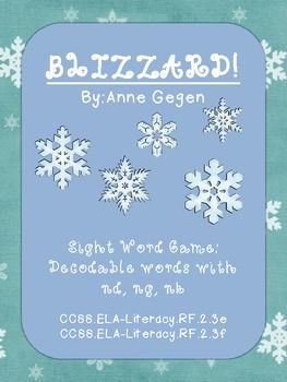 blizzard sight word game nd ng nk spelling writing and word