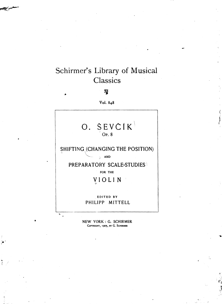 Changes Of Position And Preparatory Scale Stu S Sevcik Otakar Imslp Petrucci Music Library Free Public Domain Sheet Music