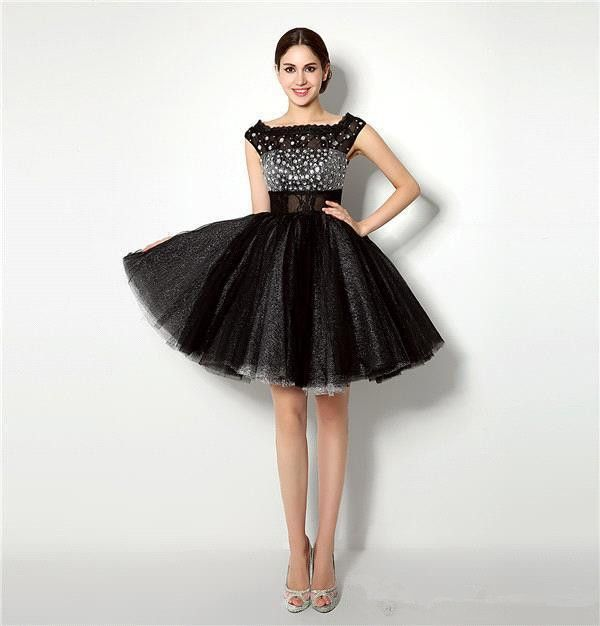 Vimans Black Short Tulle Dresses Homecoming Dresses Jewel Neck Cap