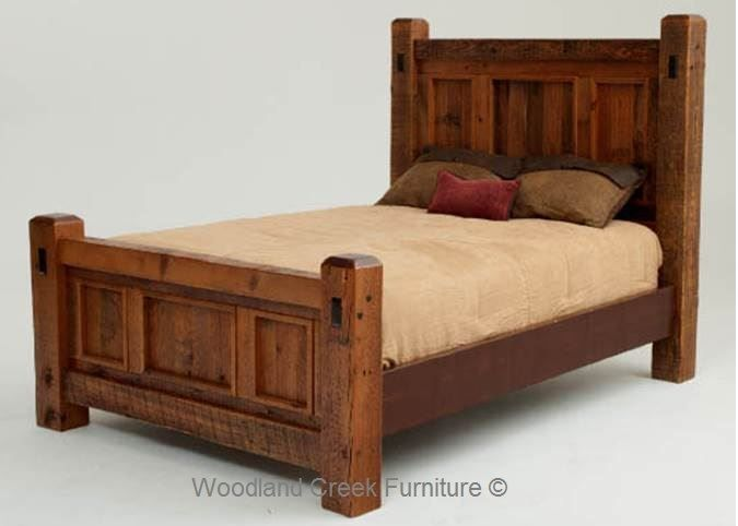 Reclaimed wood bedroom furniture is only crafted from salvaged organic  woods. Sustainable natural wood beds and nightstands have a natural  distressing and a ...