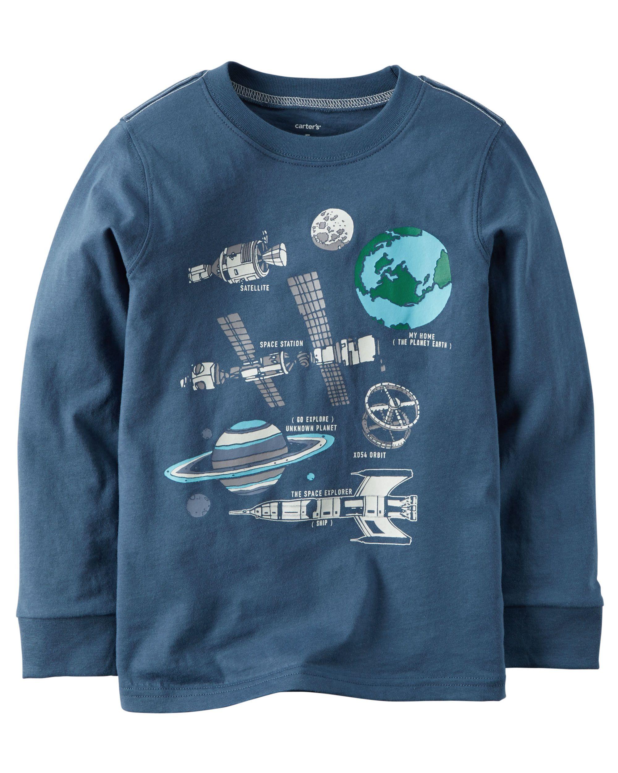aa7613e8e Kid Boy Long-Sleeve Glow-In-The-Dark Space Graphic Tee | Carters.com ...