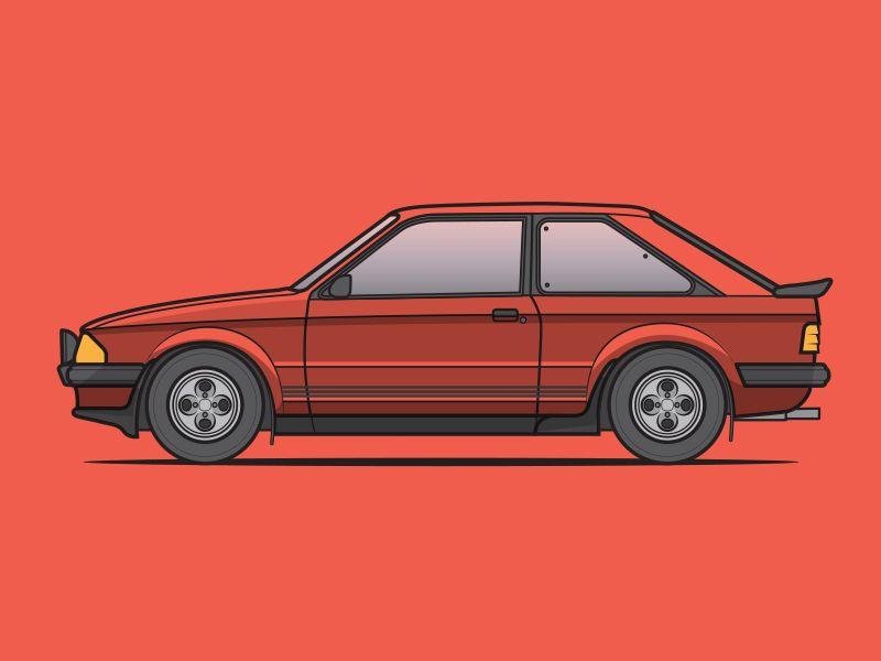 Ford Escort Mk4 XR3i Cabriolet Caricature Classic Car Art Print