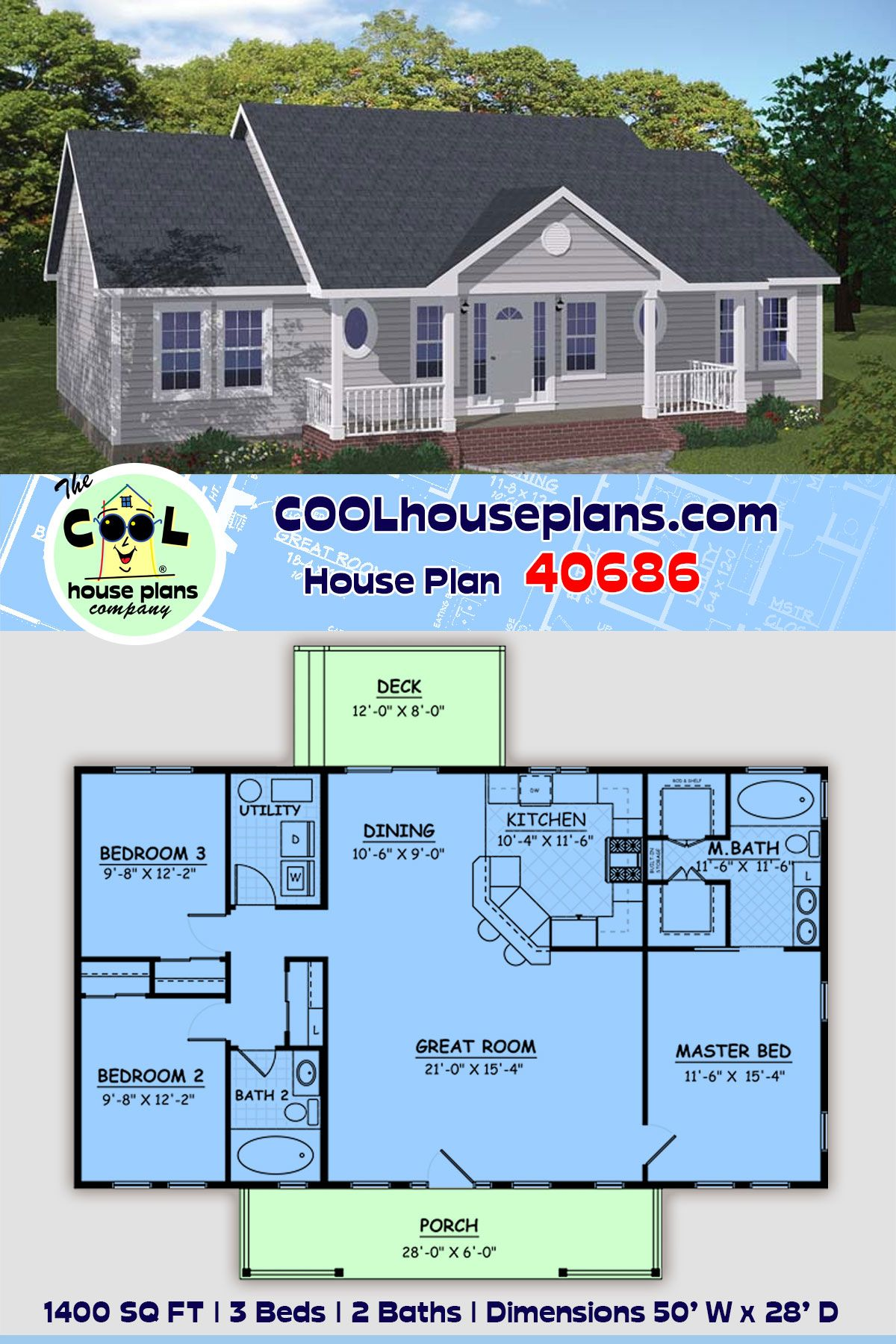 Ranch Style House Plan 40686 With 3 Bed 2 Bath House Plans Farmhouse Building Plans House Floor Plans Ranch