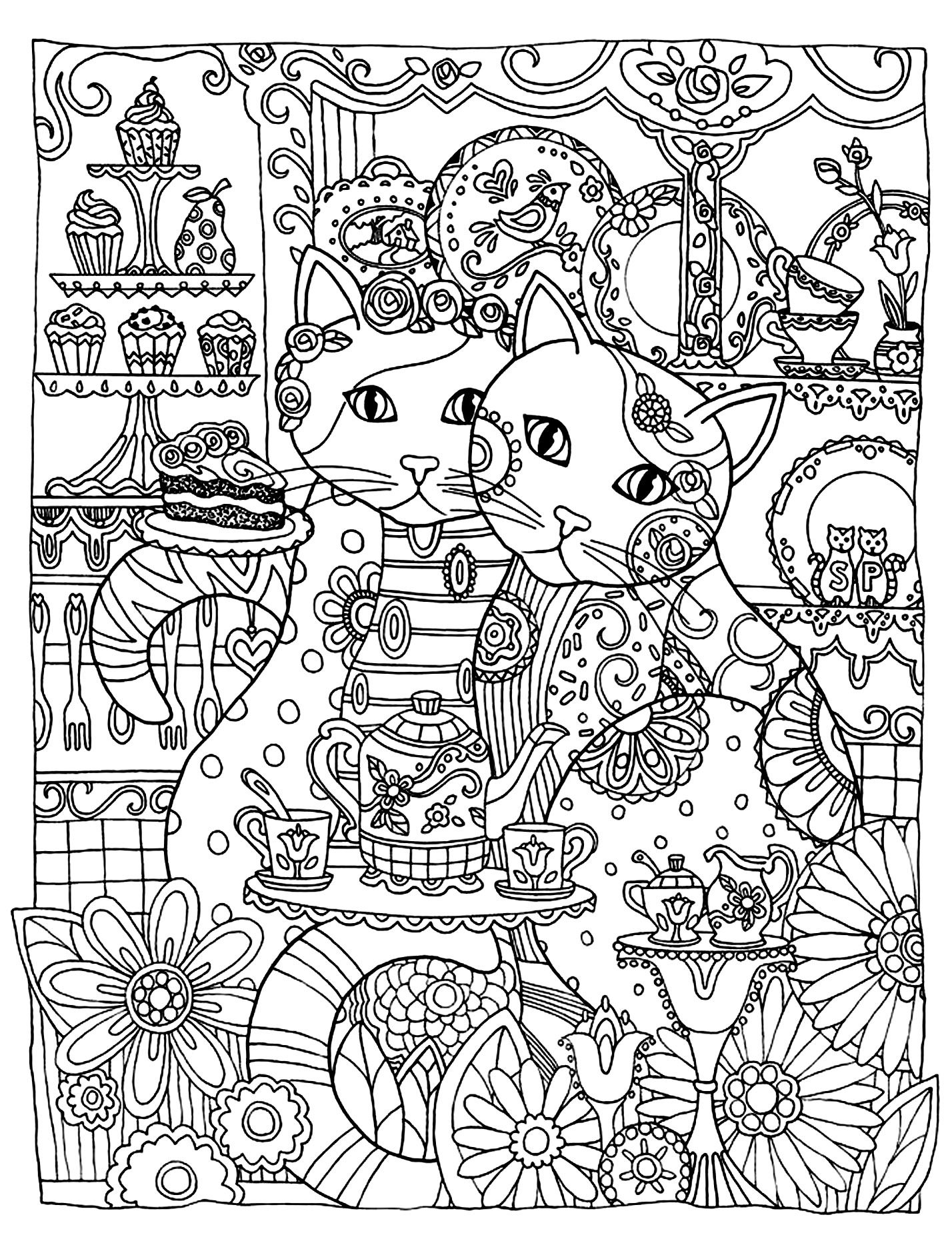 Free coloring page coloring adult two cute cats Two loving cats