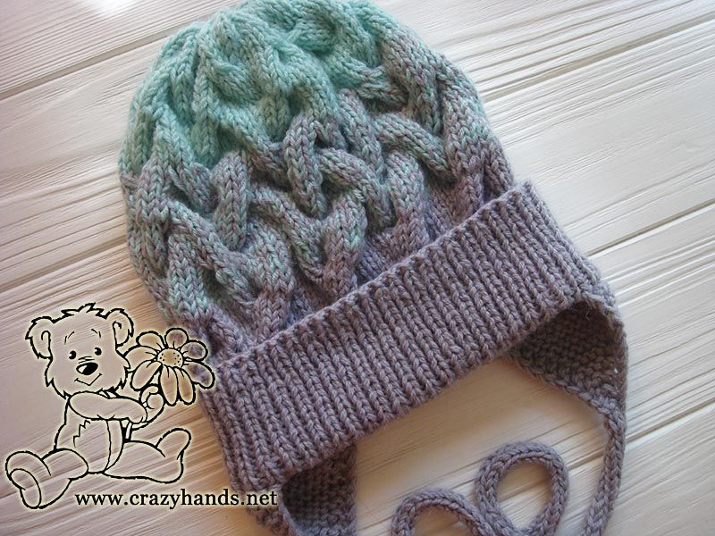 eec2f5fcb8d This is a gorgeous looking baby hat knitting pattern with earflaps made in  the gradient color and with a white raccoon fur pom pom.