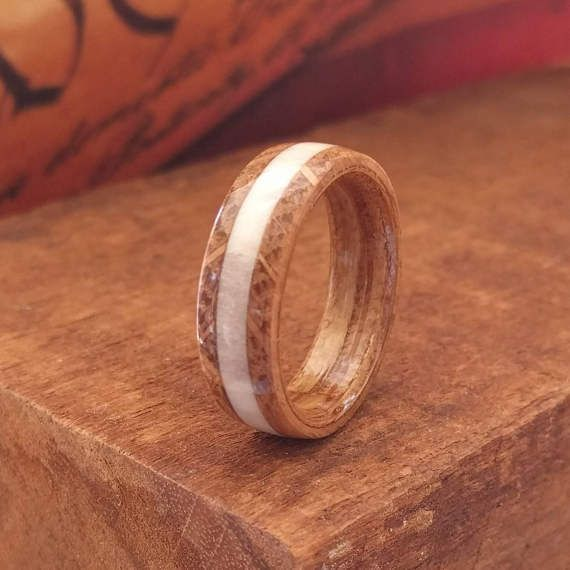 Elk Antler Whiskey Barrel Wood Ring Bentwood Wooden Men Wedding Engagement Woman