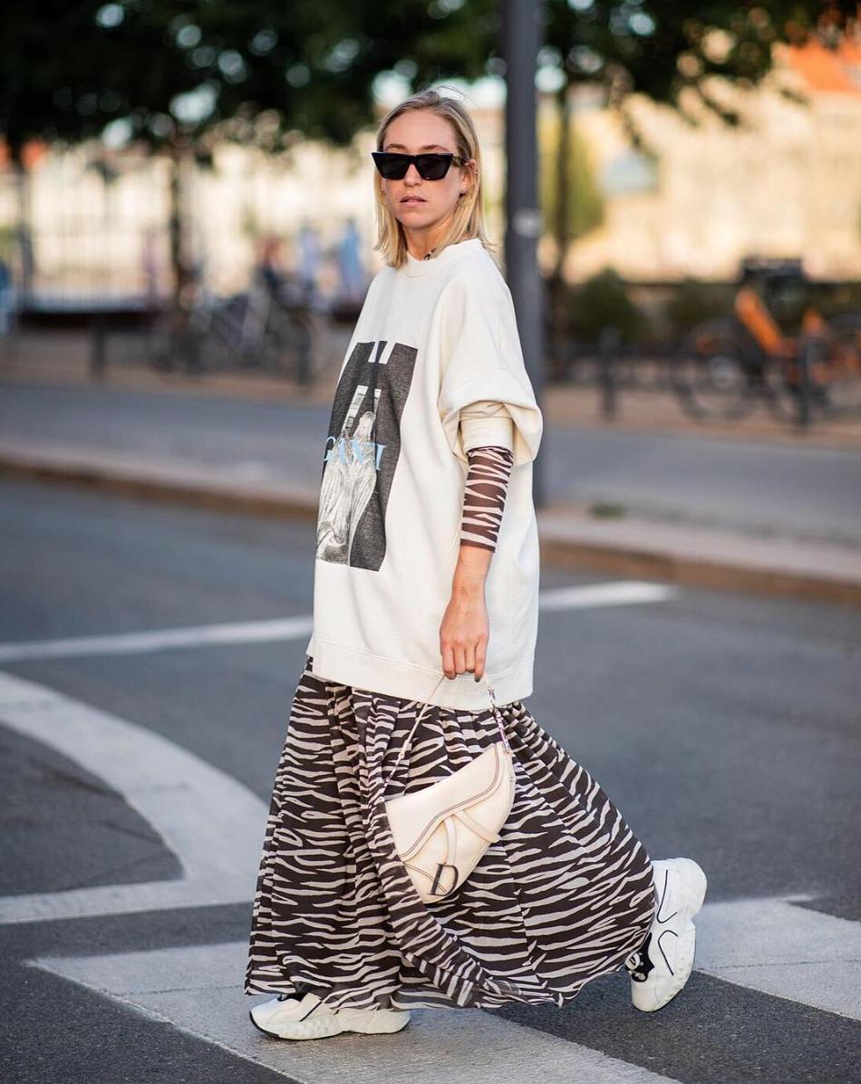 Ganni Street Style Sonia Lyson Lott Isoli Sweatshirt Tilden Mesh Skirt Vintage Street Fashion Street Style Trends Trendy Fashion Outfits [ 1196 x 950 Pixel ]