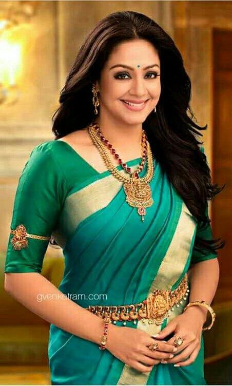 Jyothika In Green Silk Saree Beauty Of South India