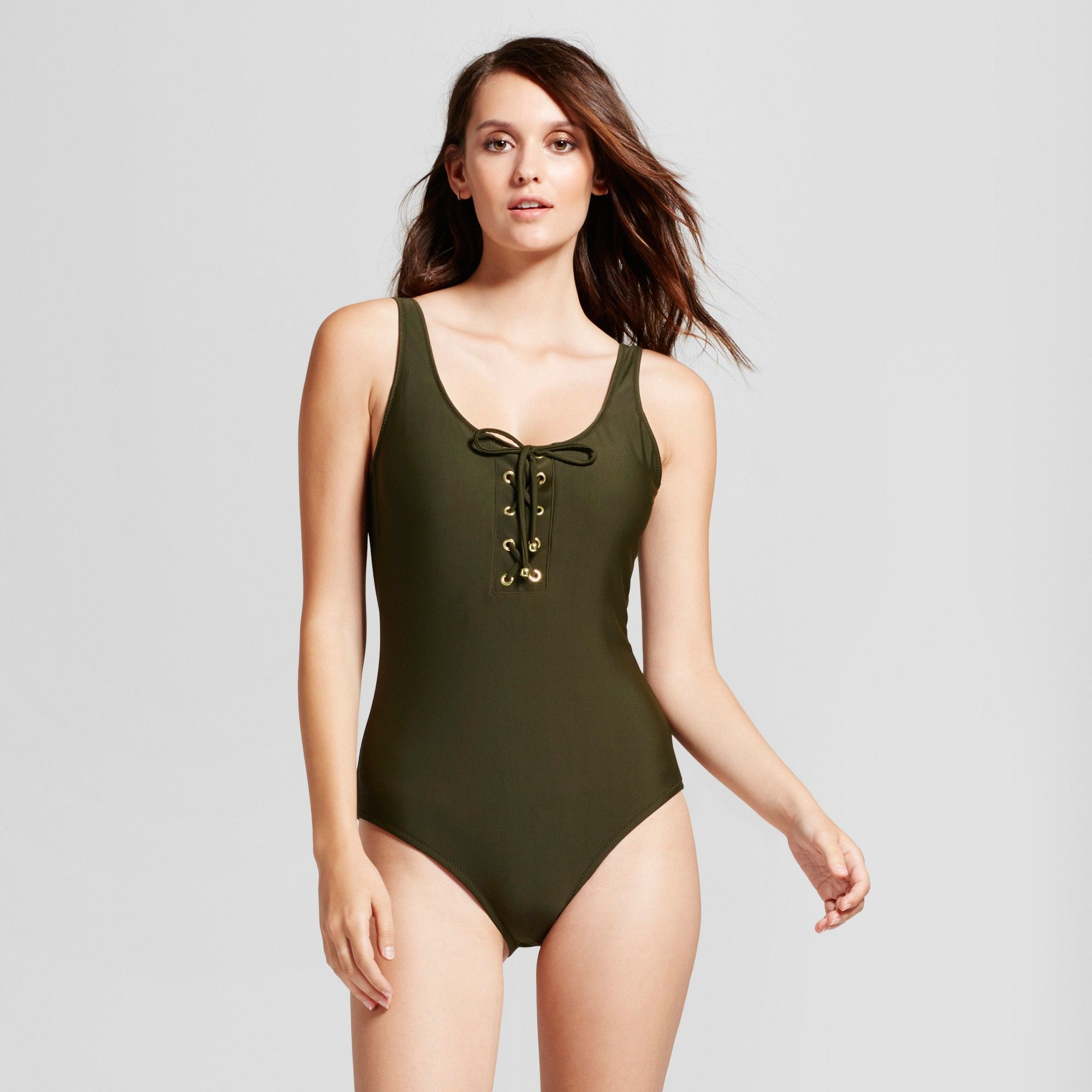7eb5bd47c4 Women's Lace Up One Piece - Green Earth - S - Mossimo | Products ...