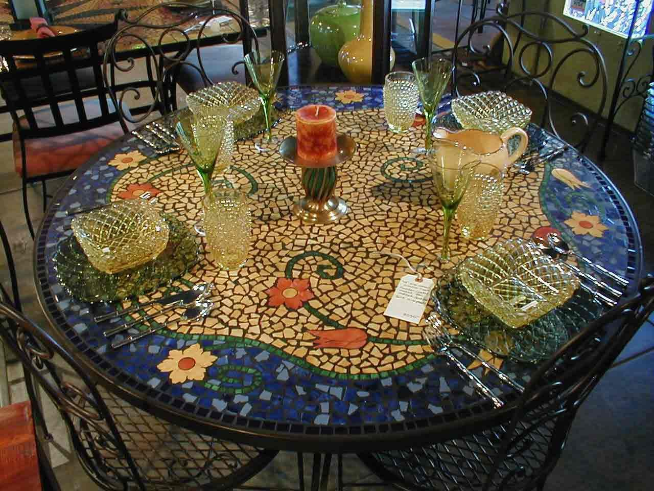 Table Top Mosaic Patterns 48 Quot X30 Quot H Tile Mosaic Dining