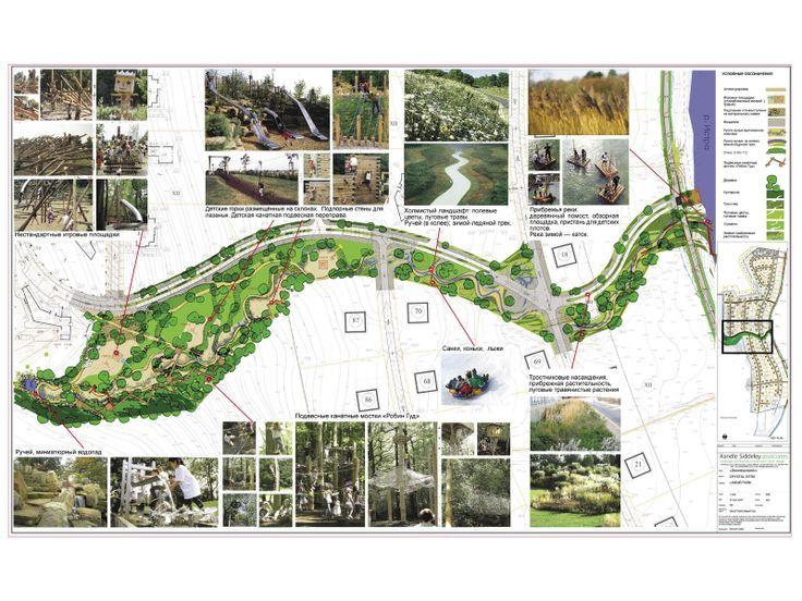 Long linear park plan parque linear pinterest for Mountain designs garden city