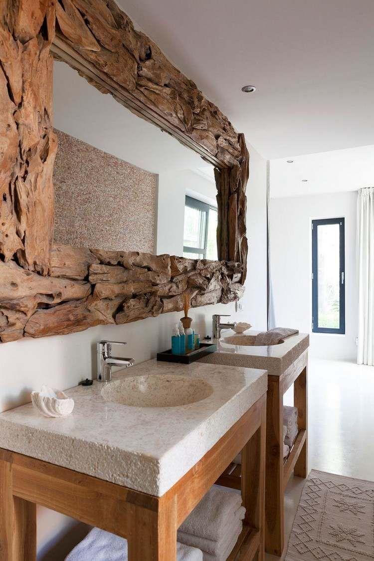 Miroir en bois flott lavabos design tapis de bain en beige et meubles sous lavabos en bois - Meuble bois flotte ...