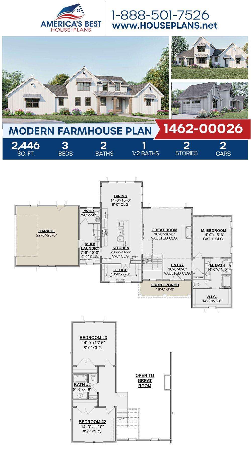 House Plan 1462 00026 Modern Farmhouse Plan 2 446 Square Feet 3 Bedrooms 2 5 Bathrooms In 2020 Modern Farmhouse Plans Farmhouse Plans Exclusive House Plan